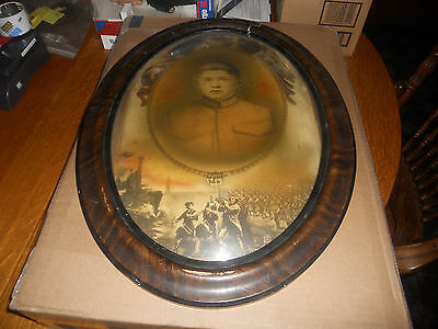 """VINTAGE ANTIQUE OVAL TIGER WOOD FRAME CONVEX DOME BUBBLE GLASS 23"""" x 17"""" w/Print"""
