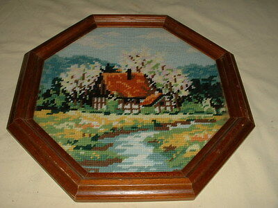 Framed Vintage Woollen Tapestry Of An English Country