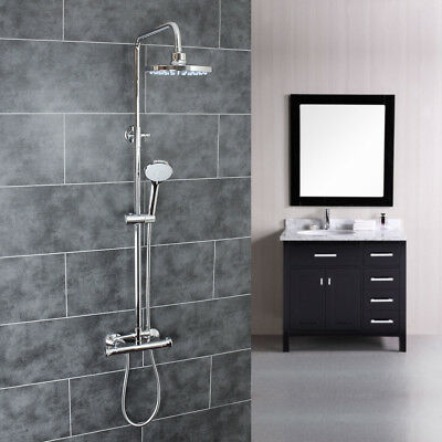 Chrome Thermostatic Bar Shower Mixer Kit with Round Head and 3 Mode Handset