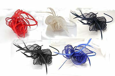 Coiled Looped Sinamay Rose & Feathers Fascinator Satin Alice band Weddings Races