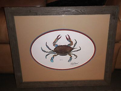 """Terry Richard Authentic Signed """"AP"""" Version Lithograph Blue Crab w/ COA"""