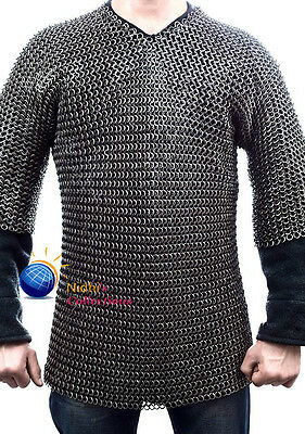 Xxl Haubergeon Medieval Armour Chainmaille Shirt 10 Mm Flat Riveted With Washer