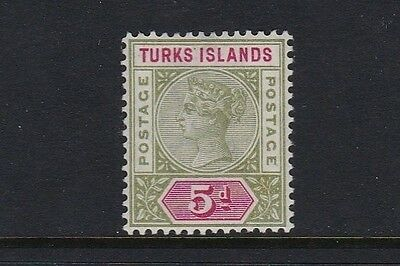 Turks & Caicos Is SG72 5d olive-green & carmine - mounted mint