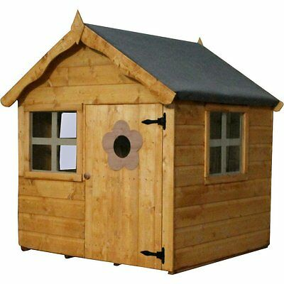 4 x 4 Snug Playhouse Brown Outdoor Solid Wooden Quaint Cottage Kids House New