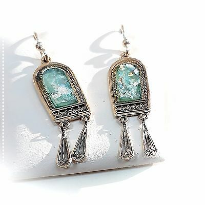 ANTIQUE ROMAN GLASS SILVER STERLING ancient EARRING ISRAEL See original.