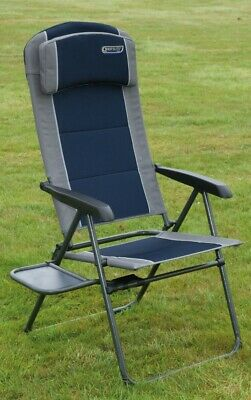 Quest Ragley Pro Recliner Camping Chair with Side Table - Blue