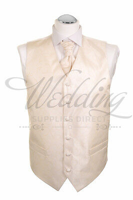 "Mens Wedding Waistcoat, Cravat and Hankie Set 42"" Gold Swirl"