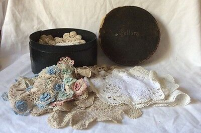 Vintage collar box of assorted lace/crochet doilies