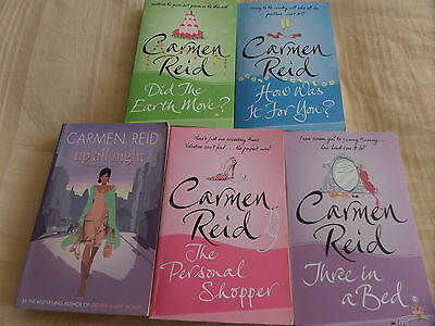 CARMEN REID COLLECTION OF 5 x PAPERBACK BOOKS - THREE IN A BED / UP ALL NIGHT