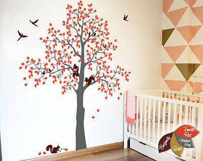 Large oak tree wall decal with squirrels stickers Tree wall mural decor KW014