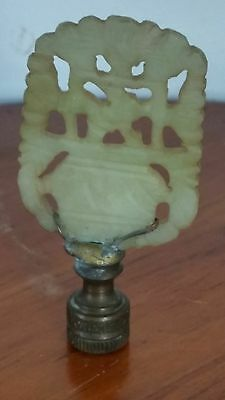 Antique Chinese Carved Jadeite Jade Pendant Plaque Finial Green / White !!