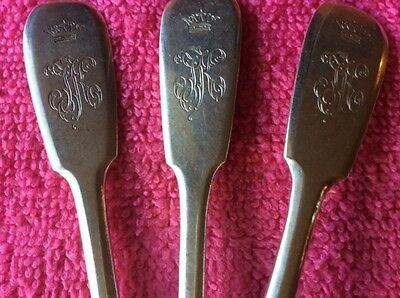 1896 Set 3 Spoons Silver 84 Monogram Russian Imperial Antique Russia Romanov Nr
