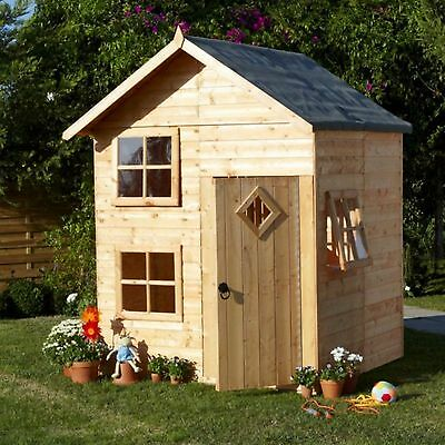 The Croft Playhouse Outdoor Wooden Quaint Cottage Kids House with Single Door