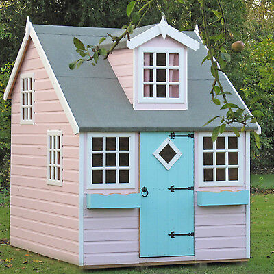 The Lodge Playhouse Outdoor Wooden Quaint Cottage Kids House with Single Door