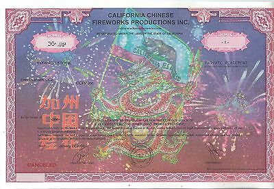 California Chinese Fireworks stock certificate 2004 Dragon holding flag