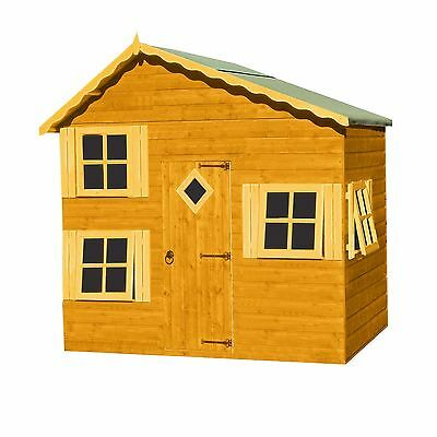 The Loft Playhouse Outdoor Wooden 2 Floors Cottage Kids House Honey Brown New