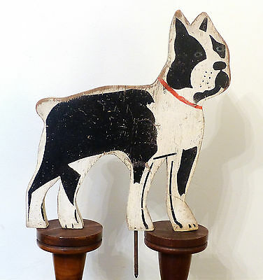 Vintage 1940s PAINTED Wooden BOSTON TERRIER Yard Lawn Garden Ornament SIGN
