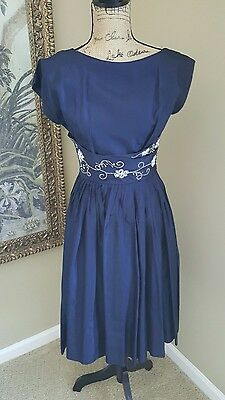 True Vintage 1950's Formal Party Prom Navy Blue with glass beads dress Size M