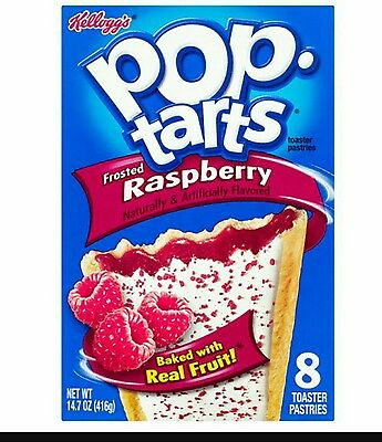 2 Boxes of Kellogg's Frosted Raspberry Pop Tarts 416g x 2. 16 Pop Tarts!