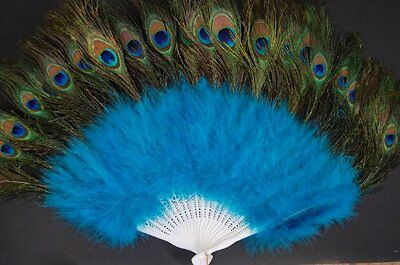 NEW Marabou Feather Fan w Peacock  TEAL GREEN 24 x 14 FREE SHIPPING
