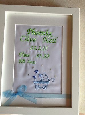 Handmade delightful Personalised Birth Details Framed
