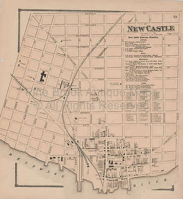 New Castle Business Delaware Antique Map Original Decor History Gift Beers 1868