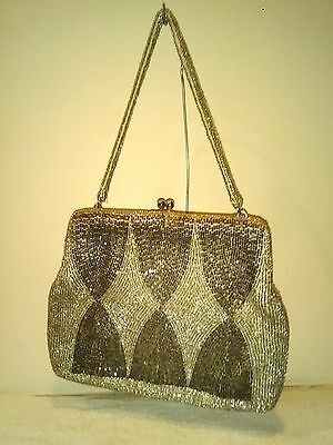 Vintage 50' 60's RICHERE WALBORG Silver/Gold Hour Glass Beaded Evening Bag Purse