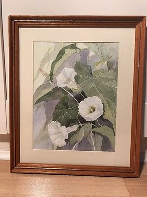 Beautiful Signed Watercolour Painting Of Flowers In Wood Frame