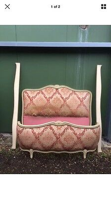 Antique Shabby Chic French Louis Upholstered Bed