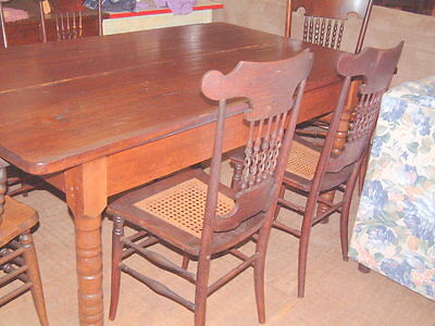 1800's Farm Table & 6 Maggie Valley Chairs, Hand Made 66 X 37 X 30 from N.C.