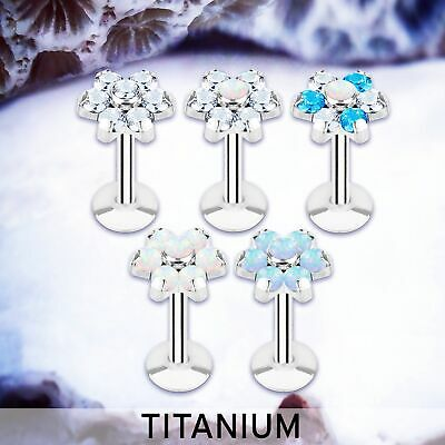 Callie | Flower Labret Studs Flower Cartilage Earring Opal Tragus Bar Conch Ring