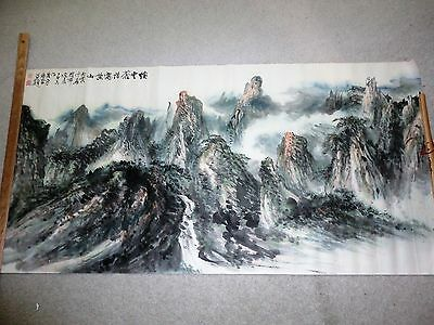 """RARE! Antique """"Famous Yellow Mountains China"""" Scenery Landscape Painting Signed"""