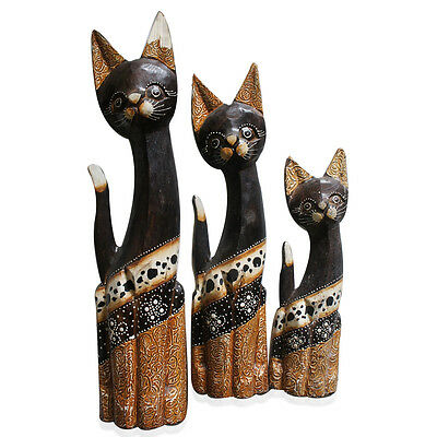 Handcarved and Painted Wooden Cats Set of 3 13,11,10 in