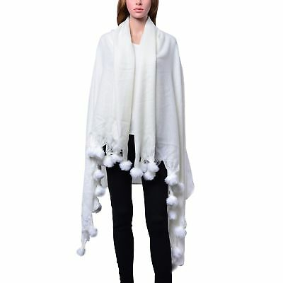 Ivory 100% Acrylic Throw-Shawl With Pom Pom Trim 64x52 in
