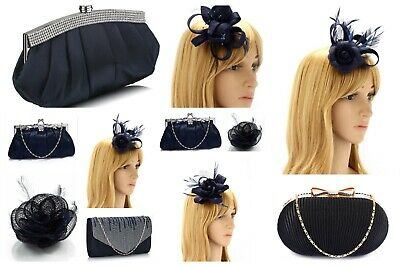 Navy Blue Clutch Bag and Fascinator Set Occasion Wedding Prom Ladies Day Races