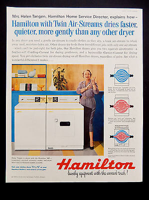 "Vintage 1958 Hamilton dryer "" womans touch""  advertisement print ad art."