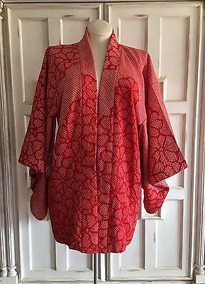 Traditional Japanese Red White Floral Short Kimono