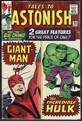 TALES OF THE ASTONISH  60  VG-/3.5  -  Giant-Man and Hulk double feature begins!