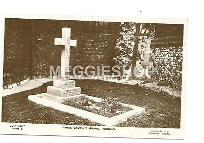 Rp Ww1 : Nurse Cavell's Grave, Norwich Old Real Photo Postcard