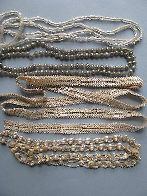 Antique Trim Edgings Unusual Lot Of 4 Glass, Silver Beads, Shell, Sequins, Doll
