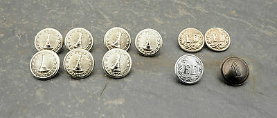 Lot of 11 Vintage Fire Department Firefighter Wm. Scully Uniform Buttons