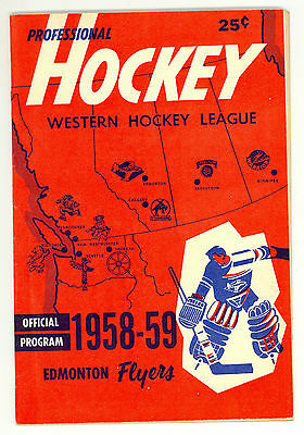 HTF 1958-59 Edmonton Flyers WHL Hockey Program vs. Winnipeg Warriors