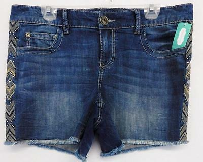 Maurices Blue Sequins Embroidered Details Women's Plus Size Shorts 18