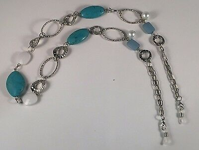 Eyeglass Readers Chain Holder Dangler Lanyard Necklace Turqoise Silver Pearl