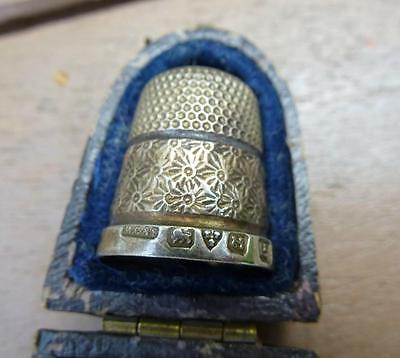 Antique Sterling Silver Thimble With Case Chester Henry Griffith & Sons