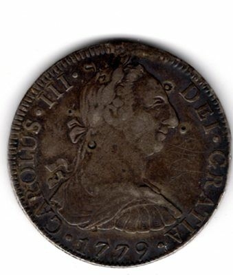 1779 Spanish Mexico City Mint  8 Reales Silver Coin with Chopmarks