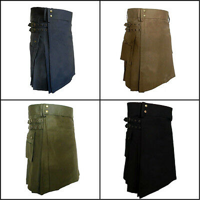 Modern Utility Kilt Heavy Cotton Kilt 4 Colors 2 pockets 30-50 Size Adult Unisex