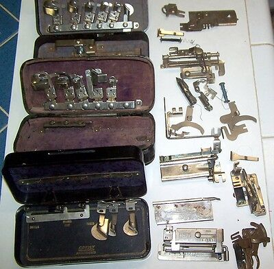Antique Sewing Machine Attachments/parts – 35 Attachments - Original Metal Boxes
