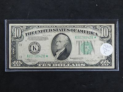 1934-C $10 Dallas Texas Federal Reserve Note Fr.2008-K* Star Note