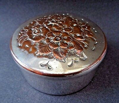 Vintage Antique Silver Plated Copper Floral Repousse Round Trinket Jewellery Box